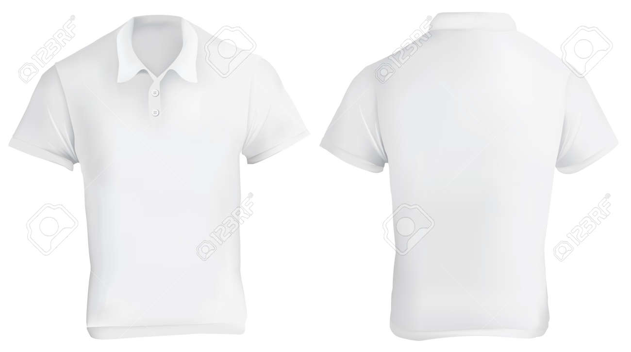 Vector Illustration Of White Blank Polo Shirt Template, Front ...