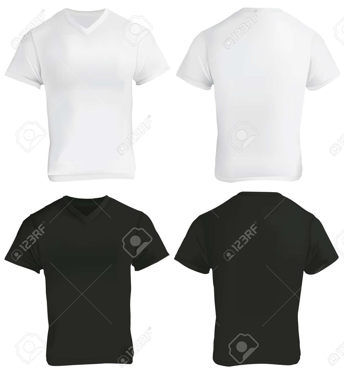 Vector Illustration Of Blank Black And White V-neck Shirt Template ...