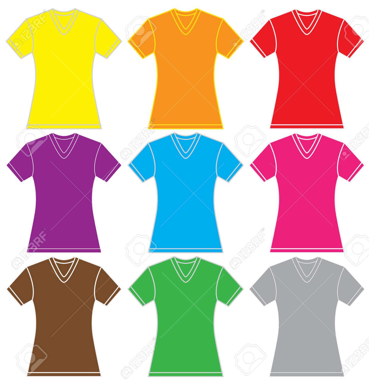 para en la plantilla muchos mujer Ilustración archivo en cuello color de de en blanco camisa aislado Foto con V BwO010