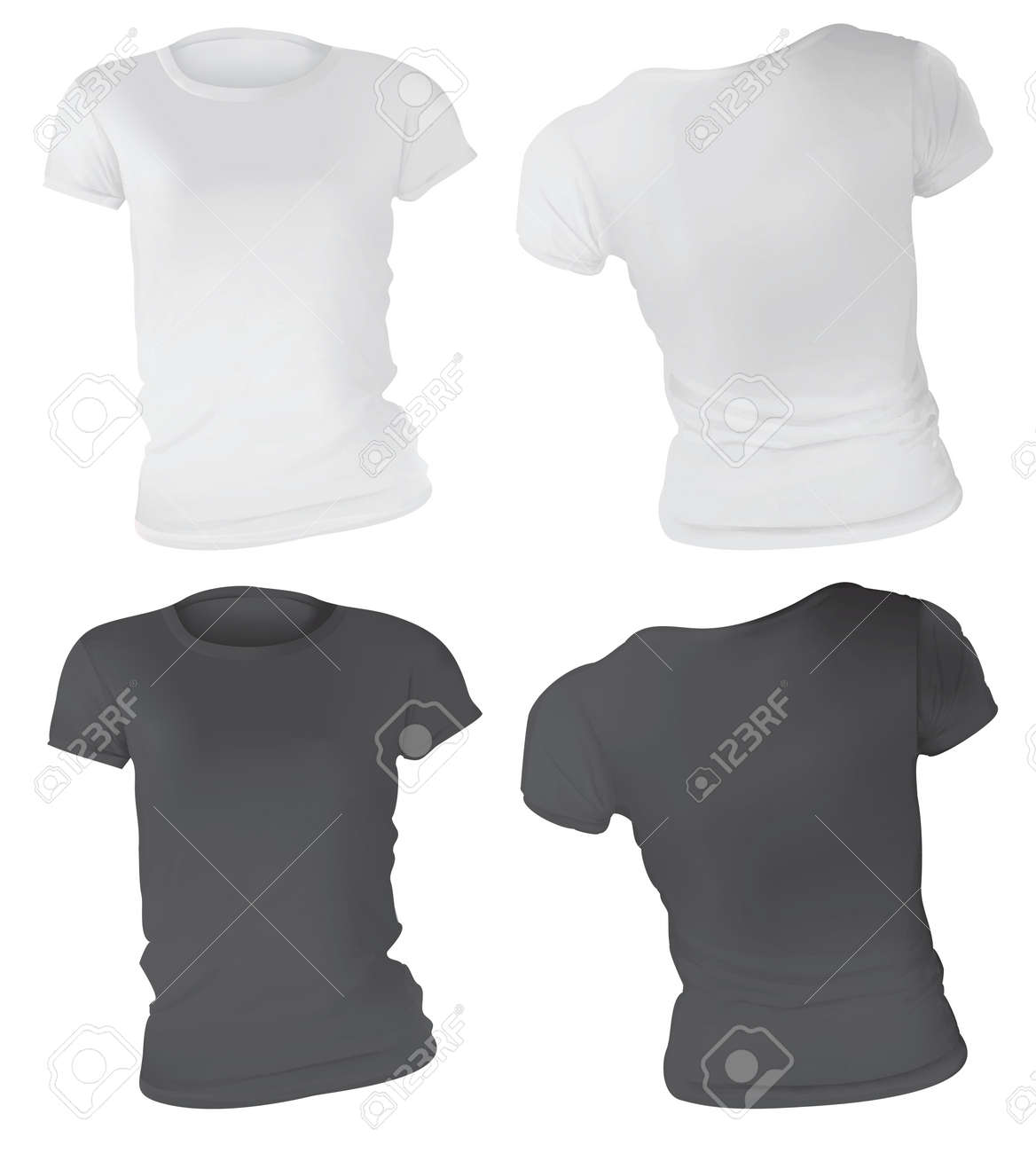Vector Illustration Of Black And White T Shirt Template For Women