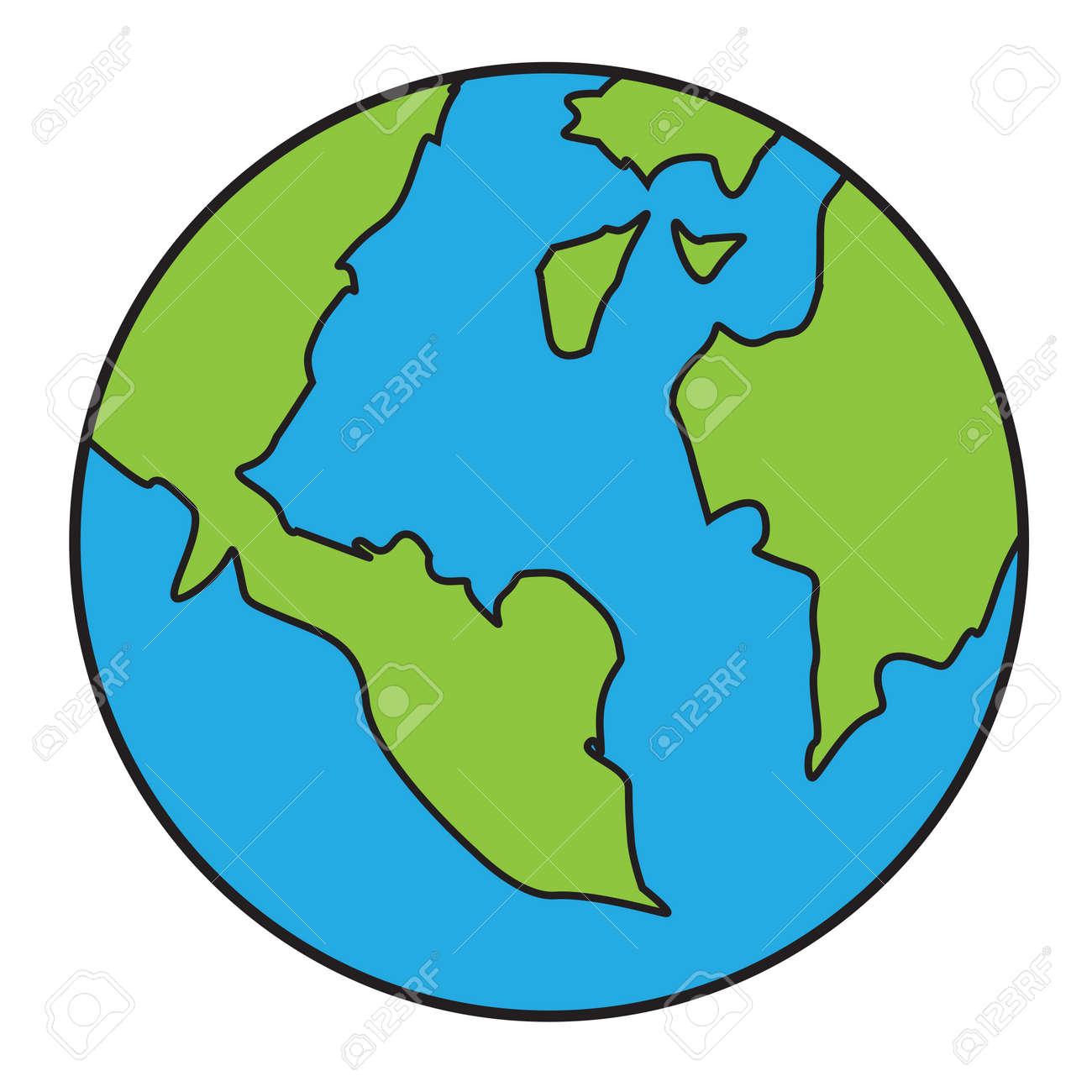 Ilustración Del Vector Del Planeta Tierra Aislado En Blanco En El Estilo De Dibujos Animados