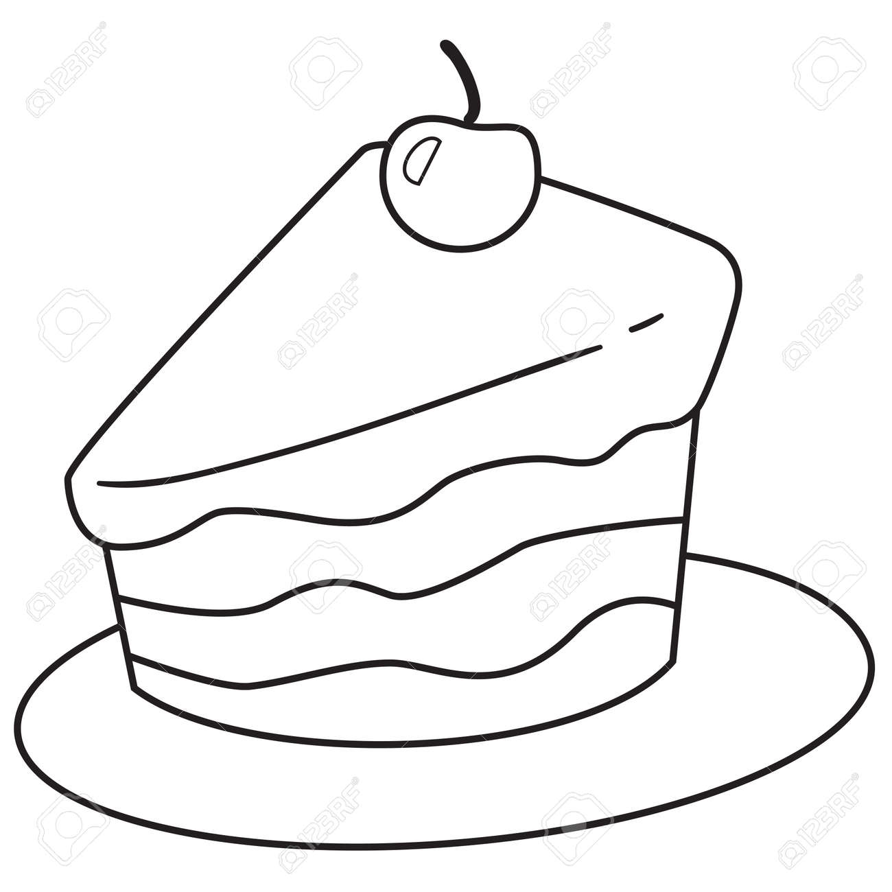 Vector Illustration Of Cake Slice In Black And White Outlined ... for Drawing Cake Slice  183qdu