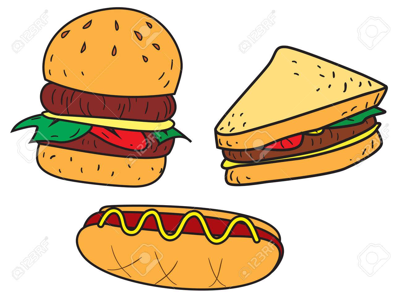 Ilustración Del Vector De Los Alimentos Rápida, Hamburguesa ...