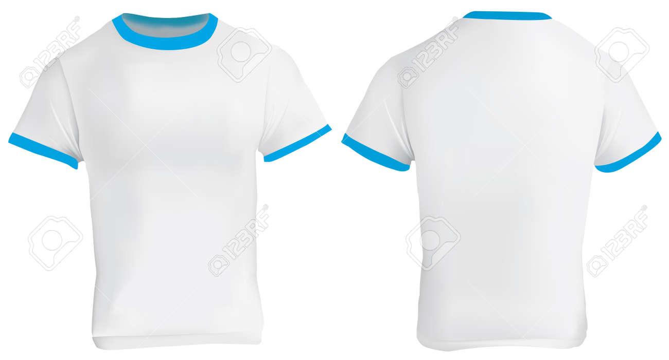 Illustration Of Blank Men Blue Ringer T-shirt Template, White ...