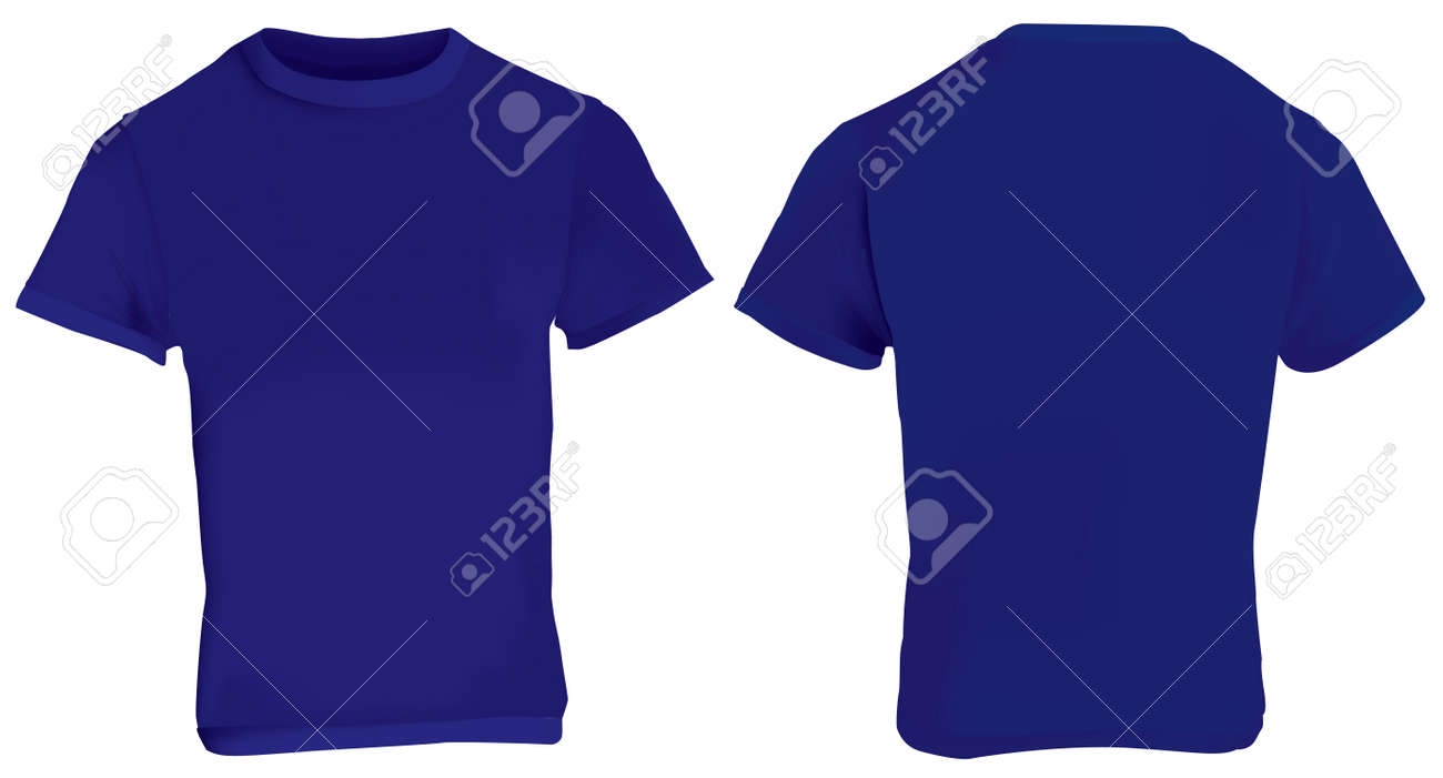 Illustration Of Blank Dark Blue Men T-shirt Template, Front And ...