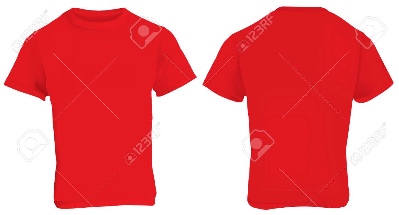 Illustration Der Leere Rote Männer T-Shirt-Vorlage, Vorne Und Hinten ...