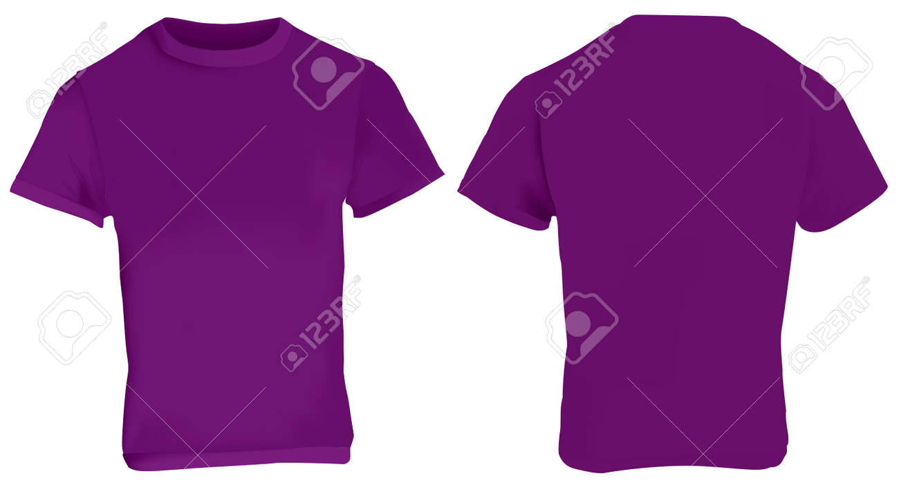 Illustration Of Blank Purple Men T-shirt Template, Front And ...