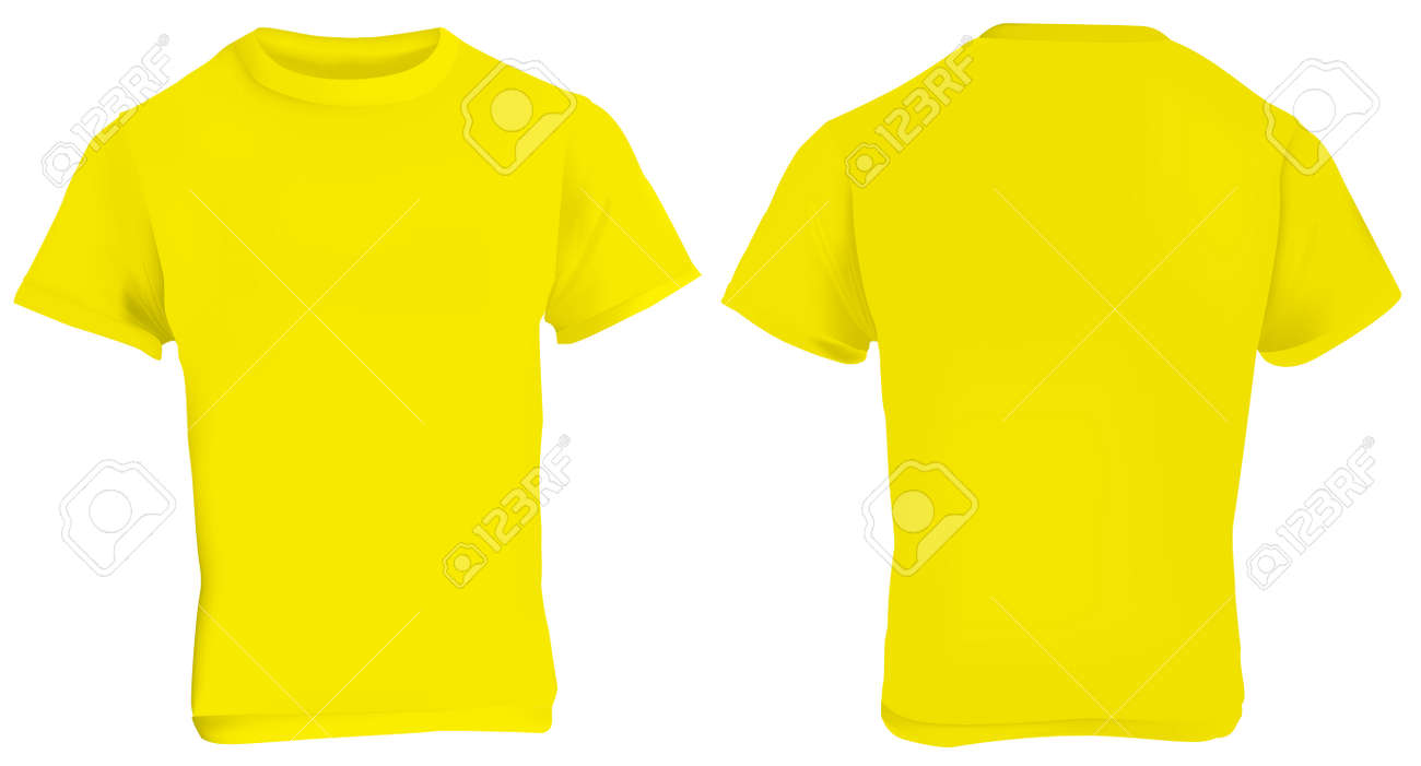 Illustration Of Blank Yellow Men T Shirt Template Front And Back Design Isolated On