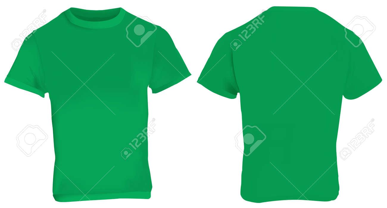 Illustration Leere Grüne Männer T-Shirt-Vorlage, Vorne Und Hinten ...