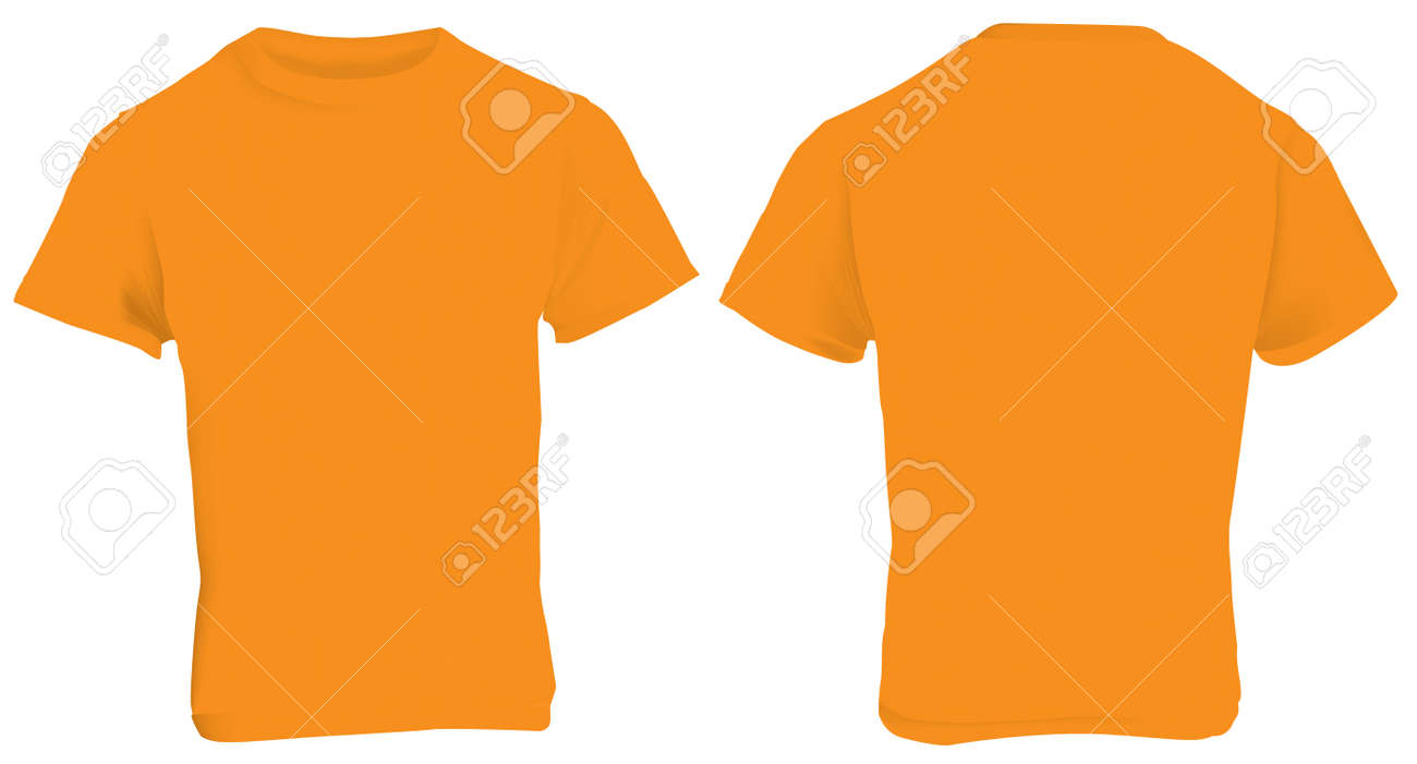 Illustration Of Blank Orange Men T-shirt Template, Front And ...