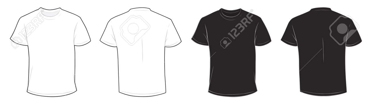 Vector Illustration Of Blank Black And White Mens T Shirt Template