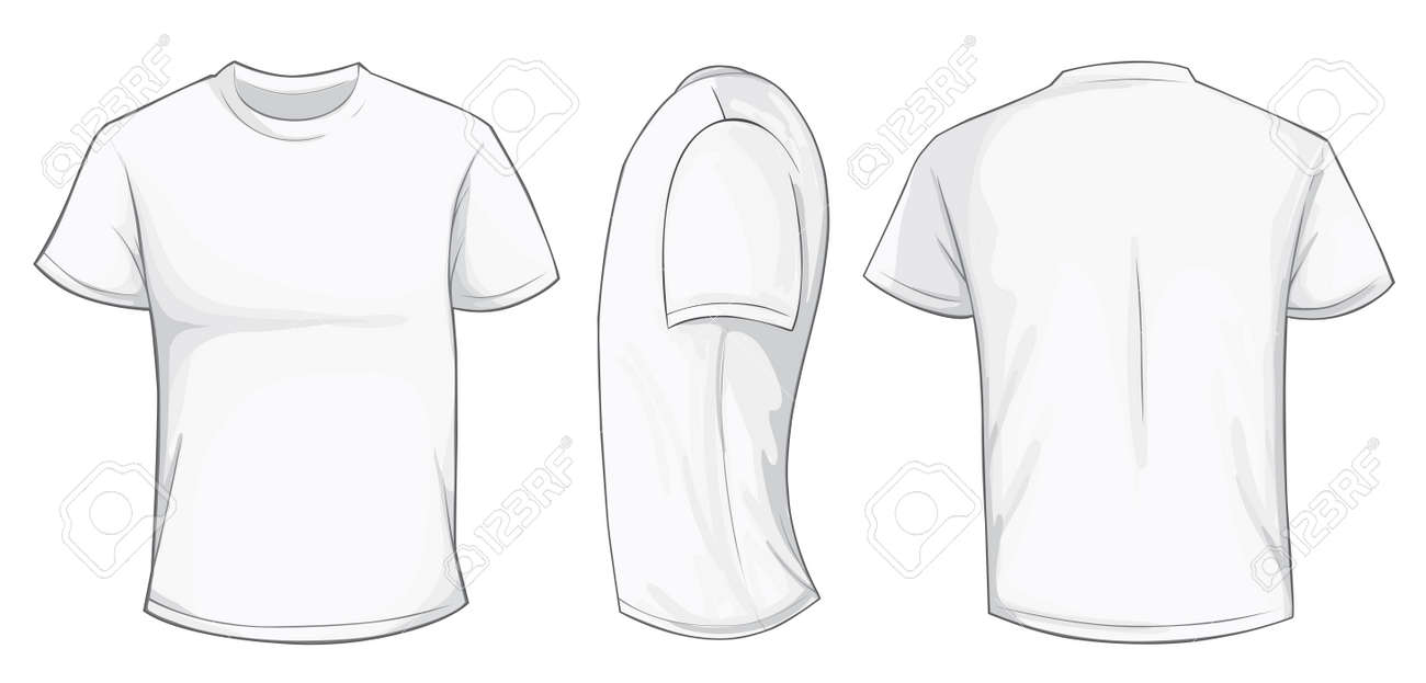 Vector Illustration Of Blank White Men T Shirt Template Front