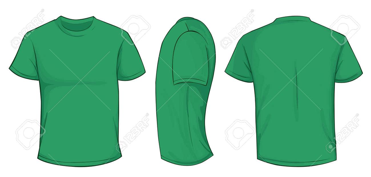 vector illustration of blank green men t shirt template front
