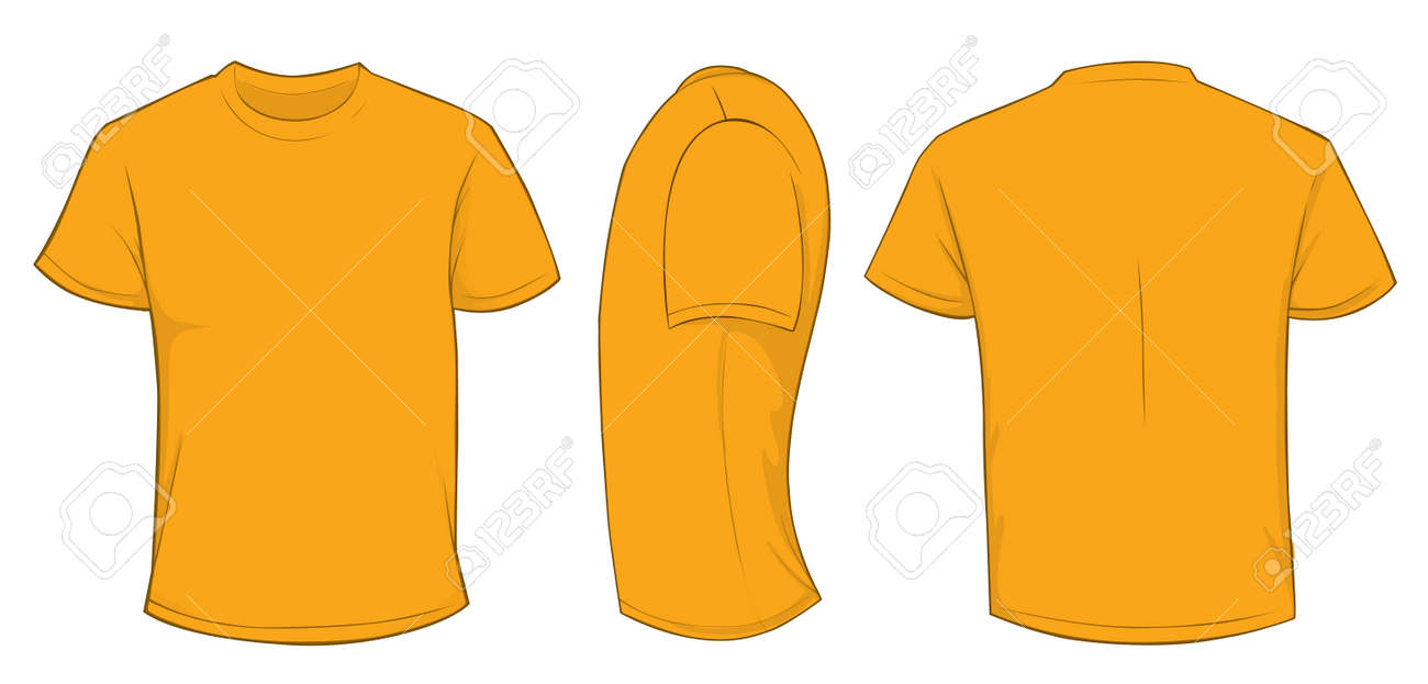 Vector Illustration Of Blank Orange Men T-shirt Template, Front ...