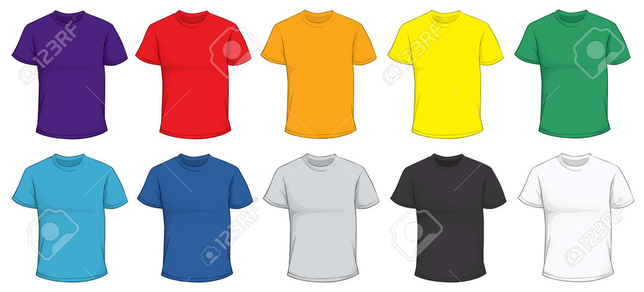 Vector Illustration Of Blank Men\'s T-shirt Template In Many Color ...