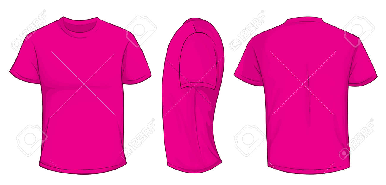 Vector Illustration Of Blank Pink Men T-shirt Template, Front ...