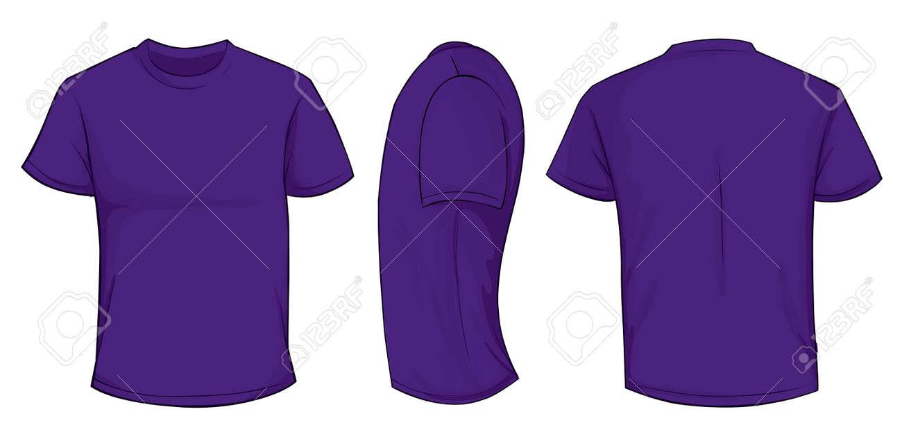 Vector Illustration Leere Lila Männer T-Shirt-Vorlage, Front ...