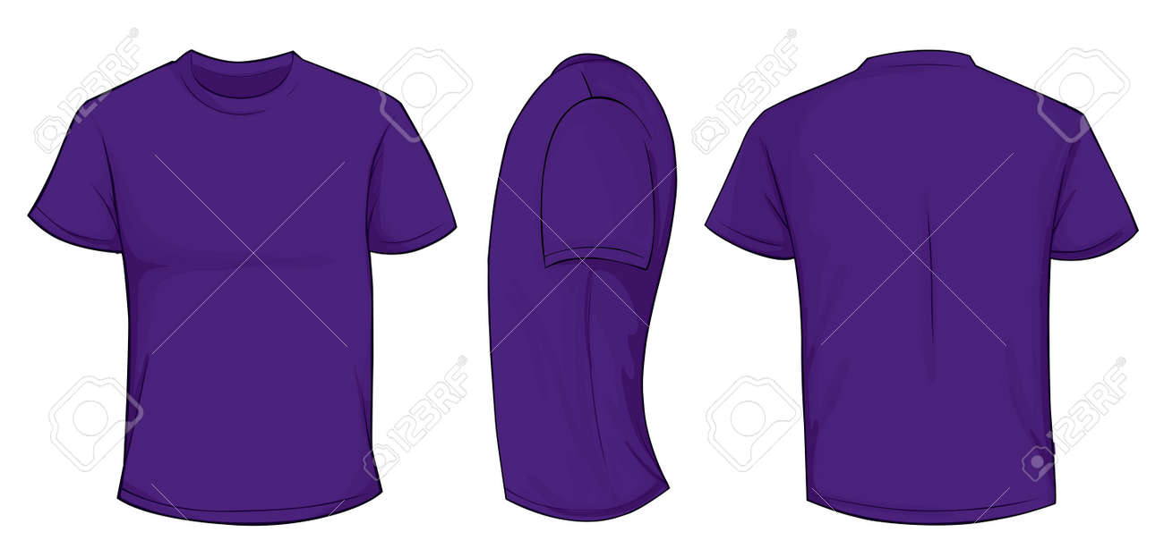 Vector Illustration Of Blank Purple Men T-shirt Template, Front ...