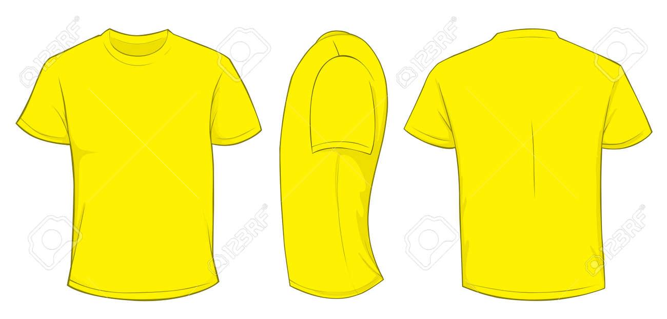 Vector Illustration Leere Gelb Männer T-Shirt-Vorlage, Front ...