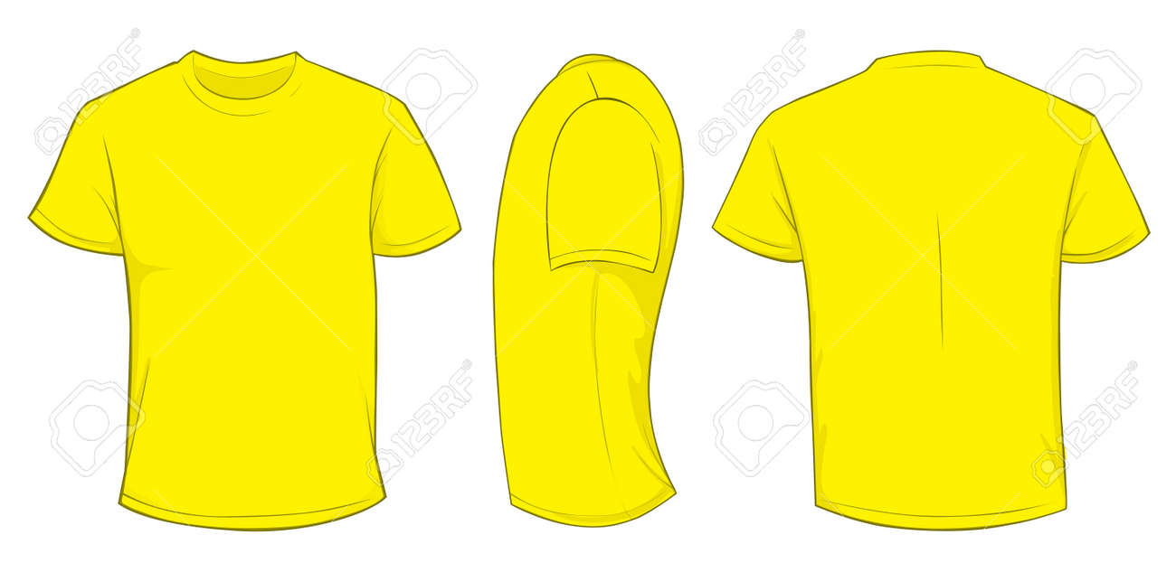 Vector Illustration Of Blank Yellow Men T-shirt Template, Front ...