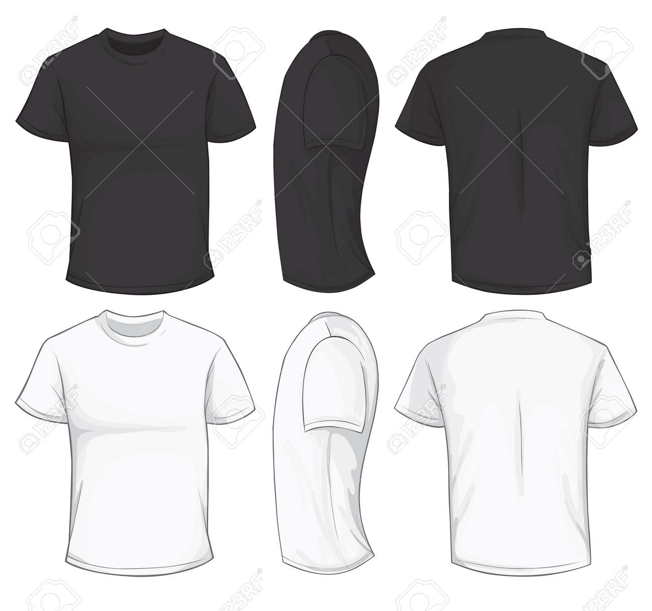 Vector Illustration Of Blank Black And White Men\'s T-shirt Template ...
