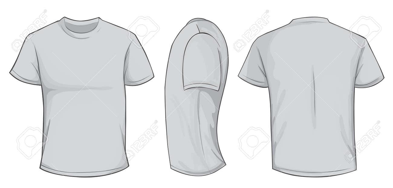 t シャツ テンプレートを空白の灰色の男たち フロント サイド バック