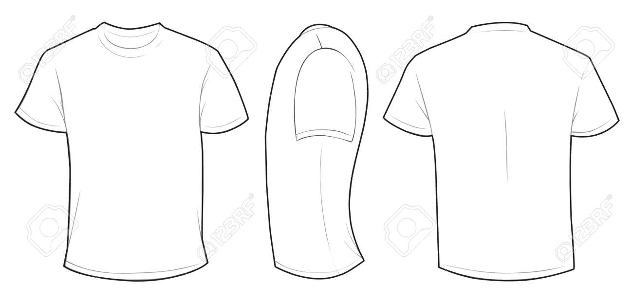 Vector Illustration Of Blank White Men Tshirt Template Front - Design a shirt template