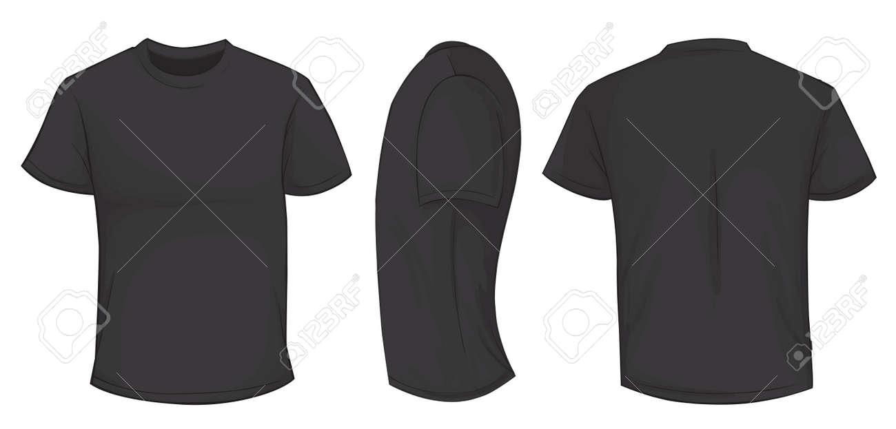 Black t shirt back and front - Vector Illustration Of Blank Black Men T Shirt Template Front Side And Back