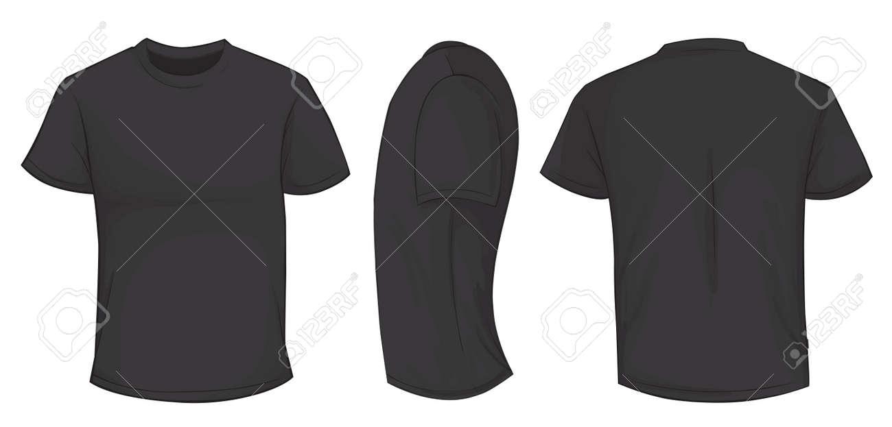 Vector Illustration Of Blank Black Men T-shirt Template, Front ...
