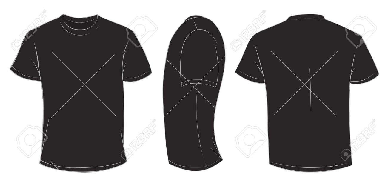 Vector Illustration Of Blank Black Men T Shirt Template Front