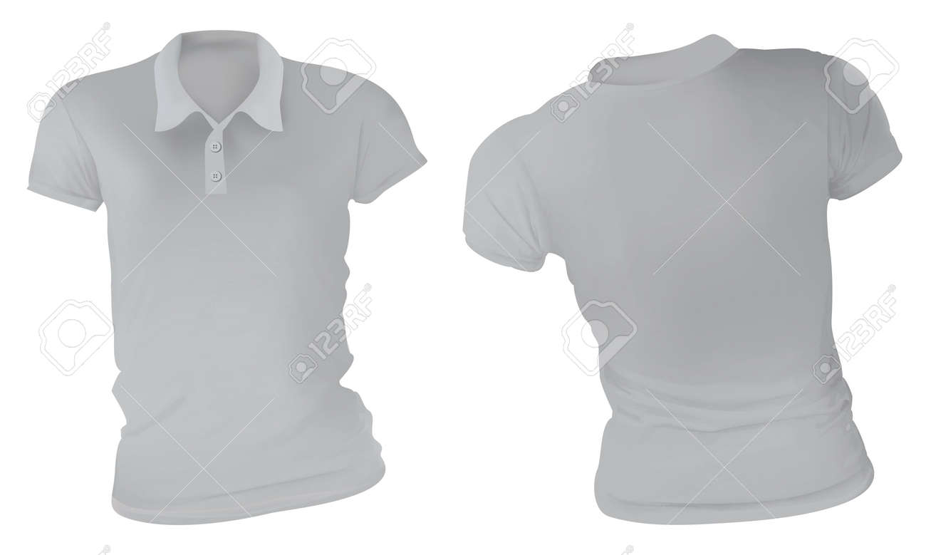 Vector Illustration Of Blank Grey Female Polo T Shirt Template