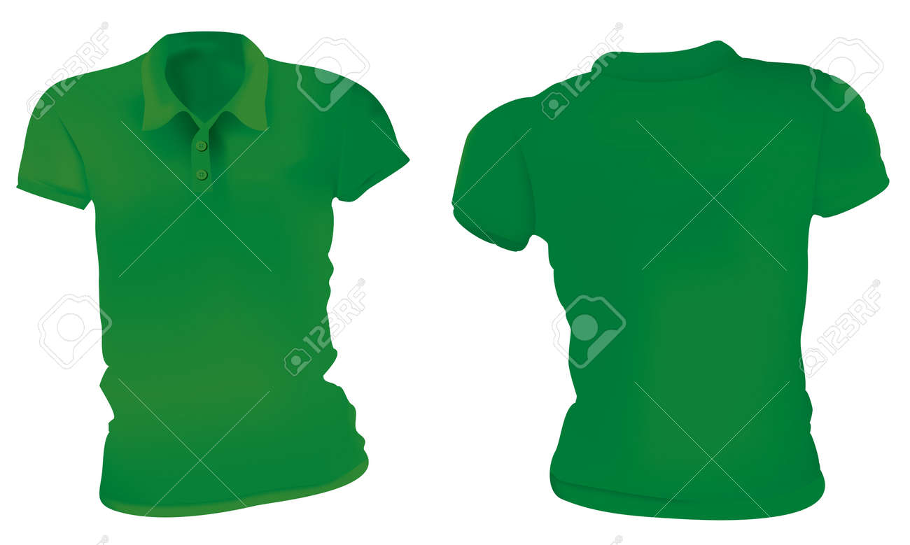 Vector Illustration Of Blank Green Female Polo T Shirt Template