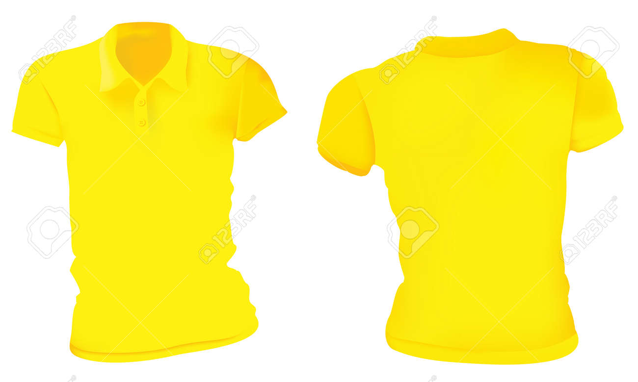 Vector Illustration Of Blank Yellow Female Polo T-shirt Template ...