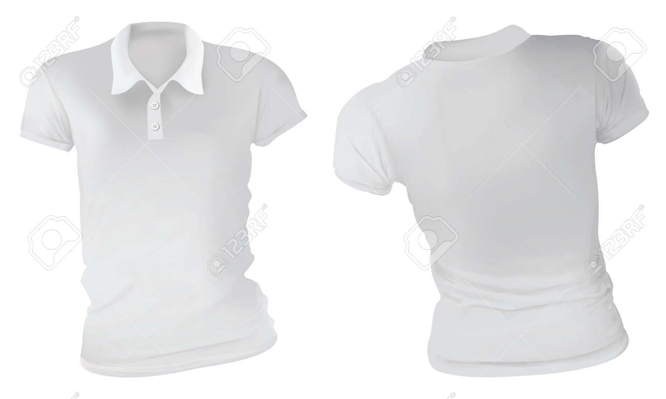 Vector Illustration Of Blank White Female Polo T Shirt Template