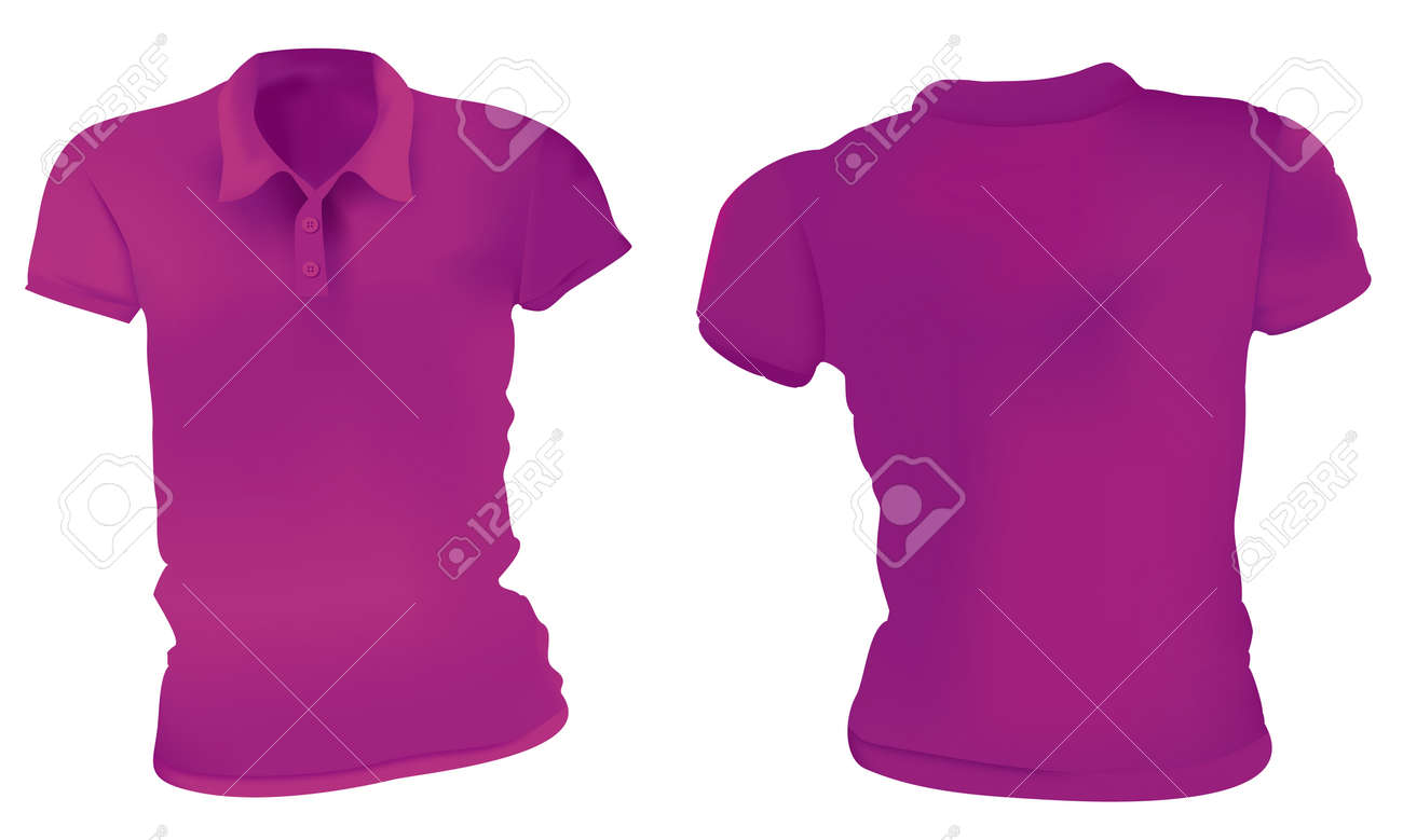 Vector Illustration Of Blank Purple Female Polo T-shirt Template ...