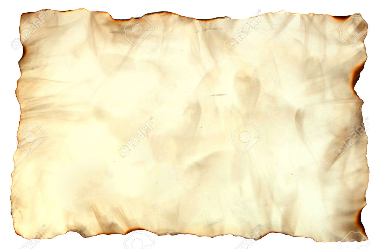 Photo Image Of An Old Paper Sheet Isolated On White, Grunge Burnt ...