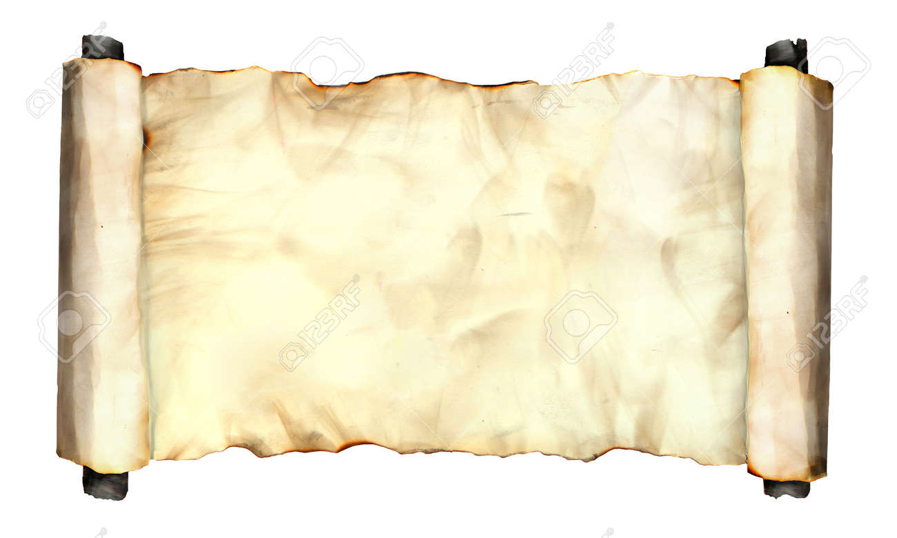 Foto Bild Von Einem Alten Gerollt Seite Papier Blatt Isoliert Auf ...