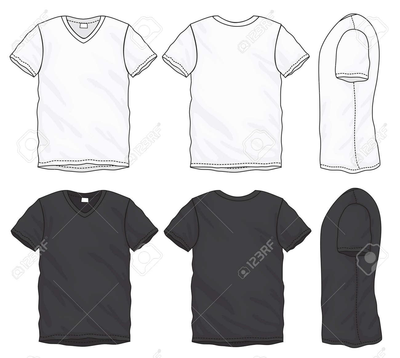Ilustración De Vector De Camiseta Con Cuello En V Manga Corta Blanco ...