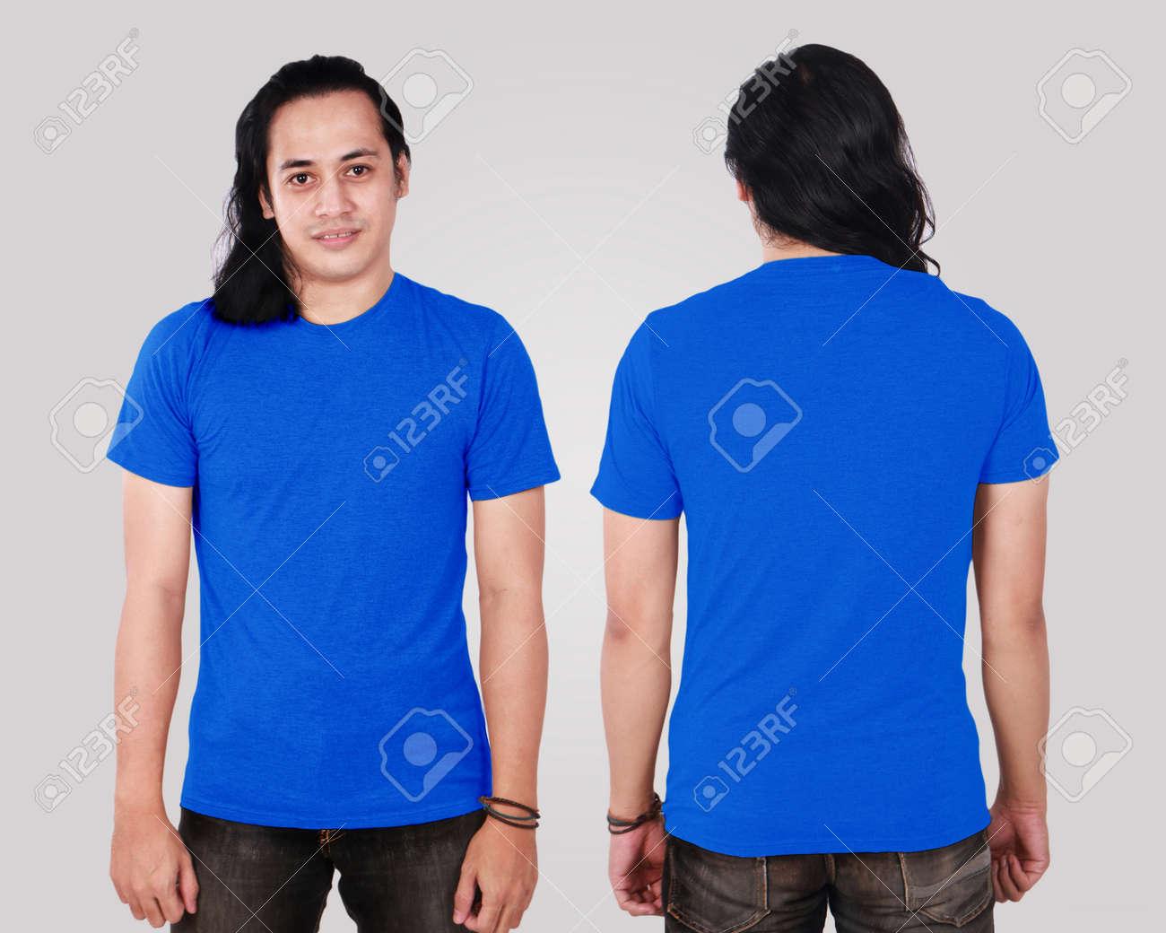 Camisa Azul En Blanco En El Modelo Masculino Asiático
