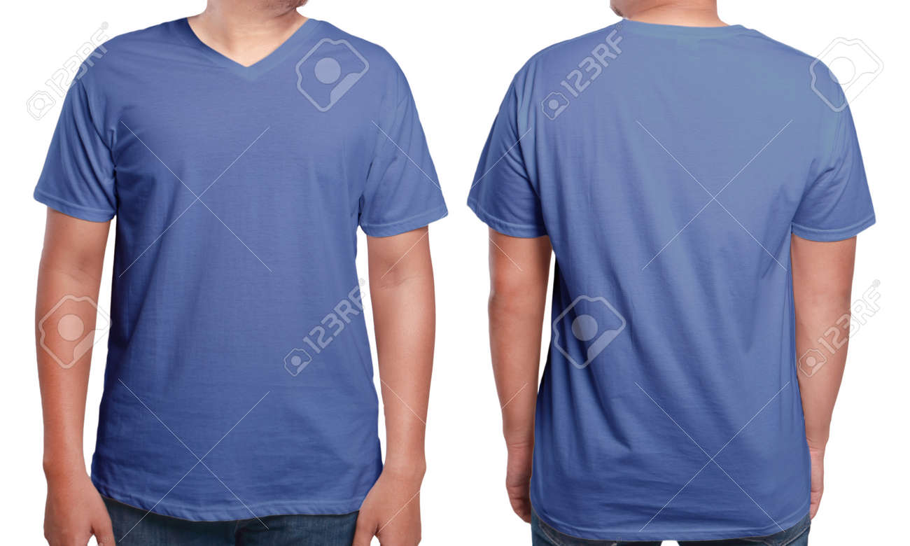 Blue T Shirt Mock Up Front And Back View Isolated Male Model