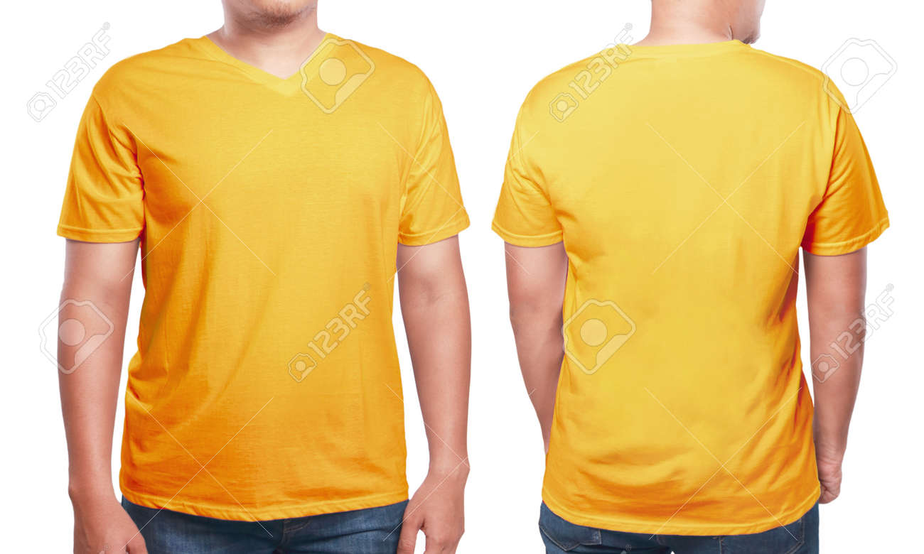 Orange T Shirt Mock Up Front And Back View Isolated Male Model