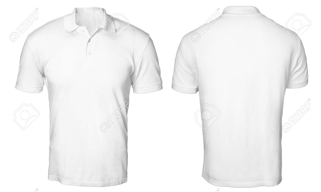 f464607ab9 Blank polo shirt mock up template, front and back view, isolated on white,
