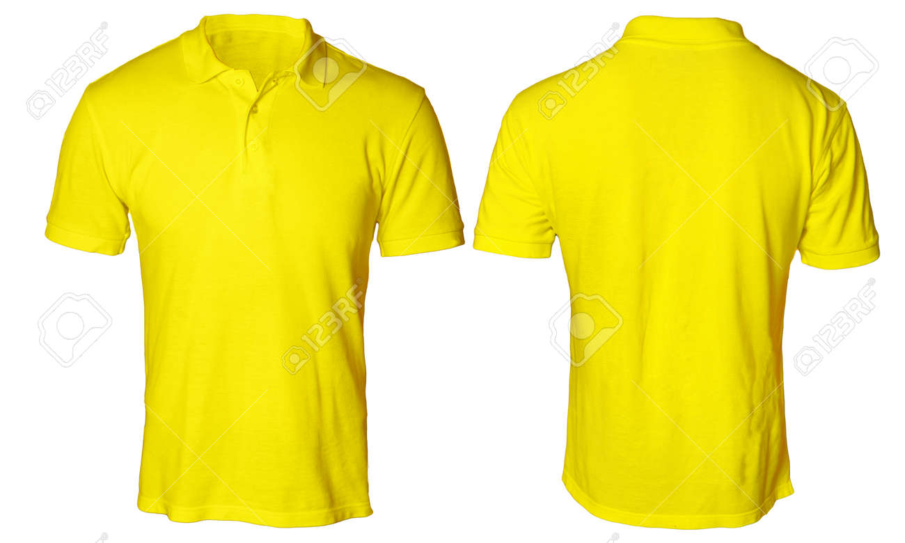 Blank Polo Shirt Mock Up Template Front And Back View Isolated On White