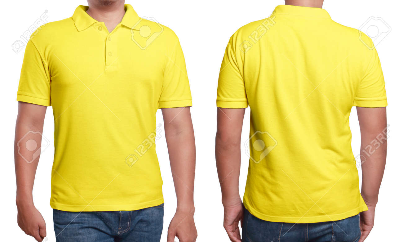 Yellow Polo T Shirt Mock Up Front And Back View Isolated Male