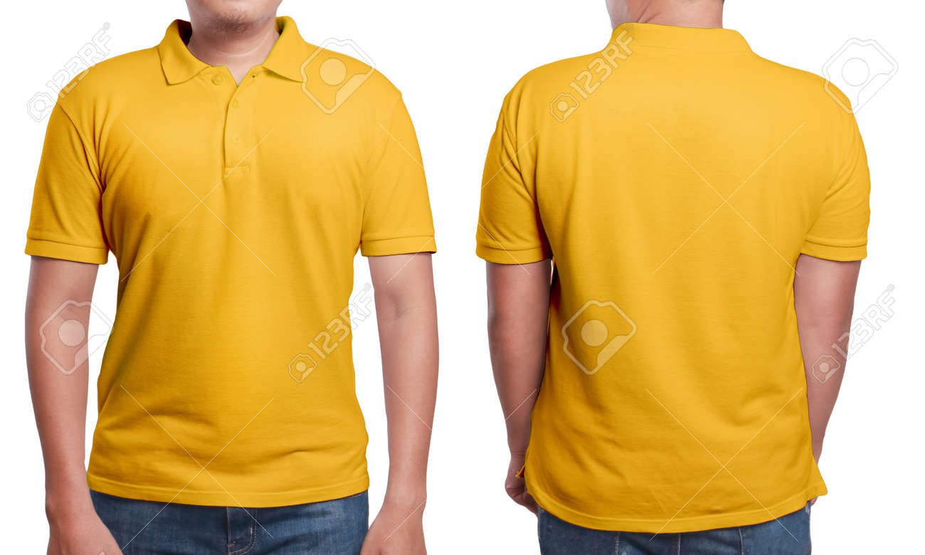 Orange Polo T Shirt Mock Up Front And Back View Isolated Male