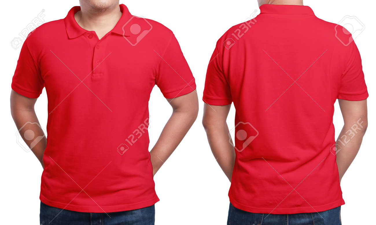 Red Polo T Shirt Mock Up Front And Back View Isolated Male