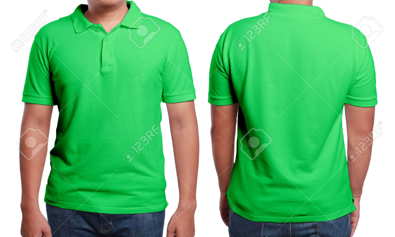 c893c2f4 Green Polo T-shirt Mock Up, Front And Back View, Isolated. Male ...