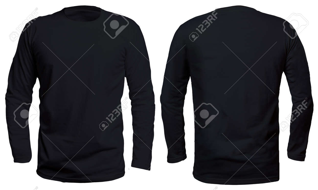 Black T Shirt Template | Blank Long Sleve Shirt Mock Up Template Front And Back View
