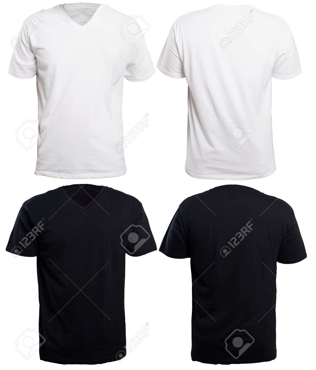 Blank V Neck Shirt Mock Up Template Front And Back View Isolated On
