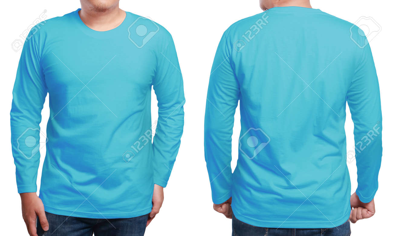 Blue Long Sleeved T Shirt Mock Up Front And Back View Isolated